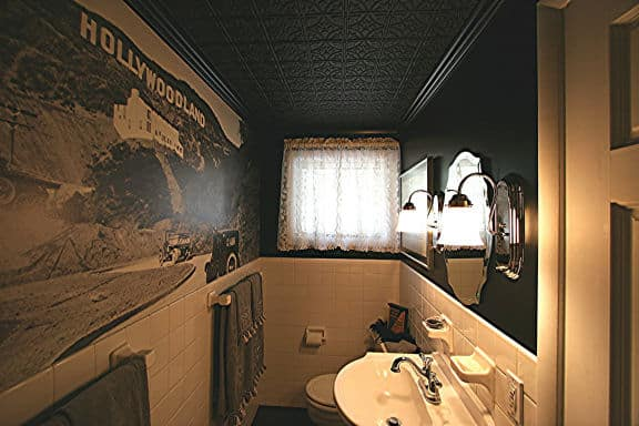 209 Black Faux Tin Ceiling Tiles In Bathroom