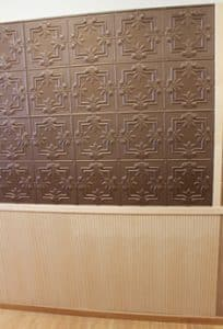 faux tin and veneer maple wainscot wall paneling