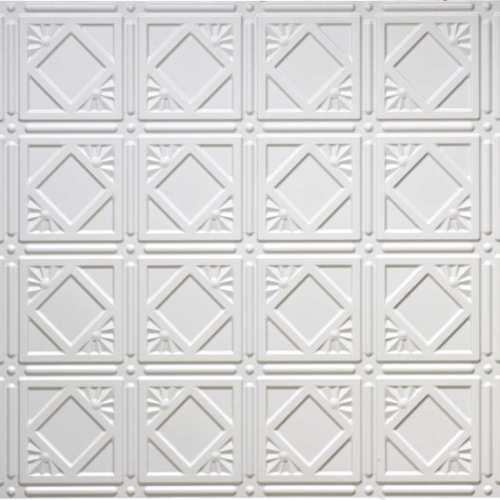 White 207 2'x4' faux tin ceiling tile