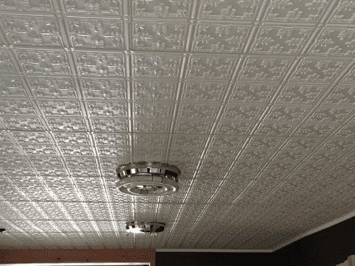 faux tin ceiling tile in kitchen