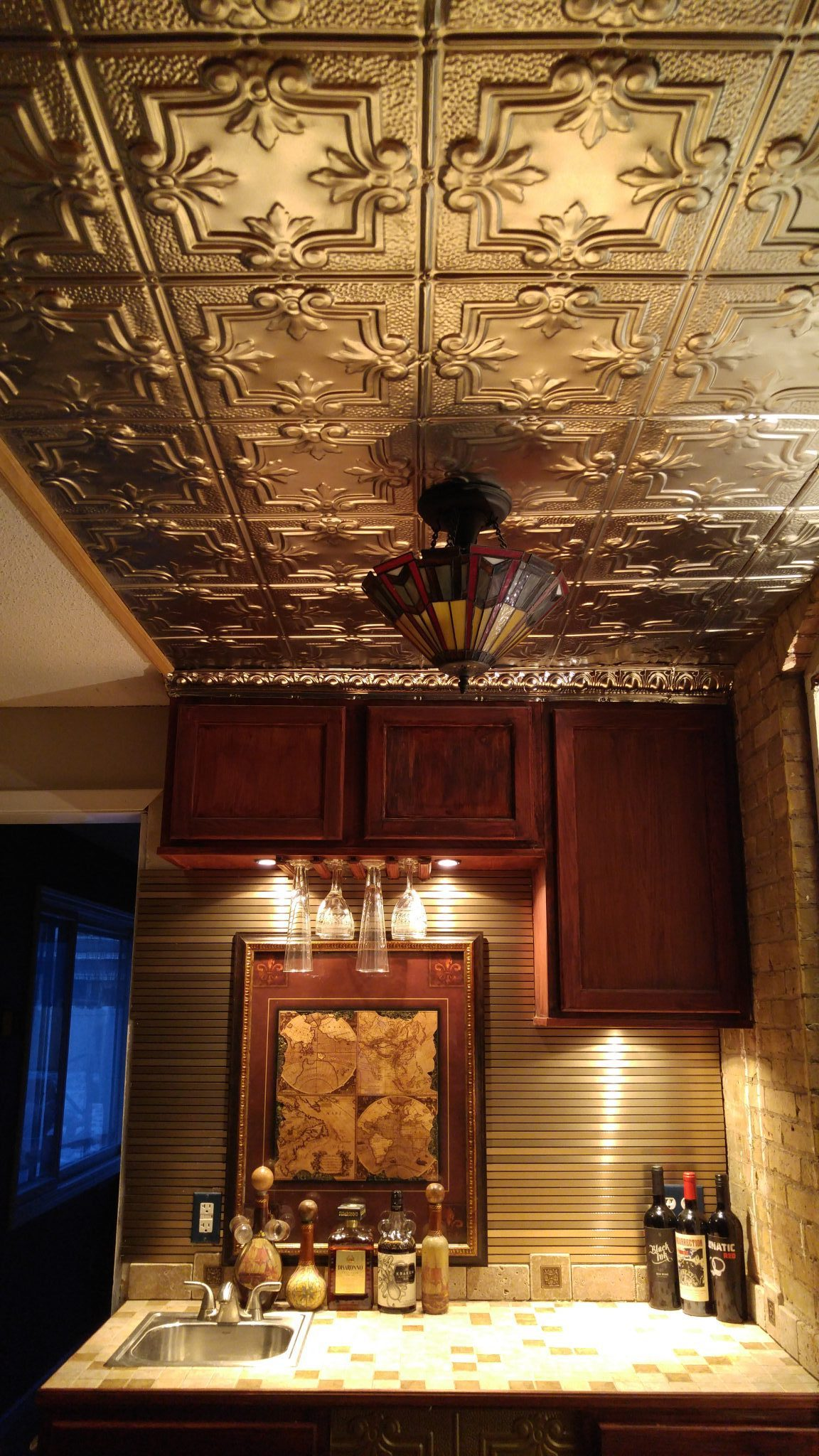 321 Metal Tin Ceiling And Brushed Aluminum Tambour