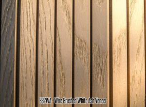 332 White Ash Wire Brushed Wood Tambour Veneer flexible wall panel 4x8 feet