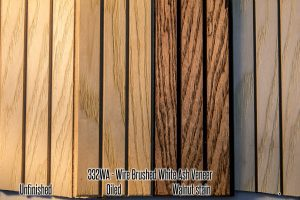 332 White Ash Wood Tambour Veneer Wall Panel 4x8 feet for walls, ceilings, wainscot, bar fronts, tambour cabinets, and more! Easily install in bars, restaurants, hotels, homes, condos, apartments, etc. Easily stain or clear coat!