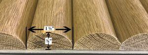 Solid wood tambour half round white oak