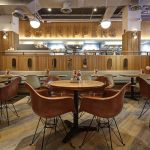 solid wood tambour wall restaurant