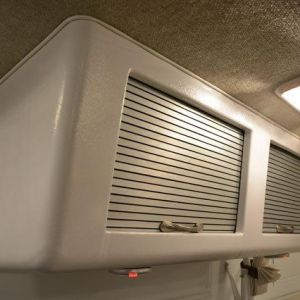 brushed aluminum airstream tambour cabinet